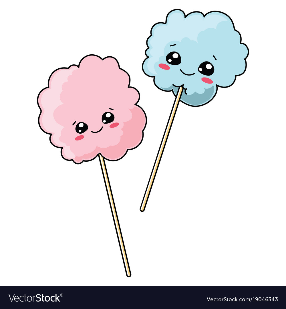 Set of cute cotton candy with a smile