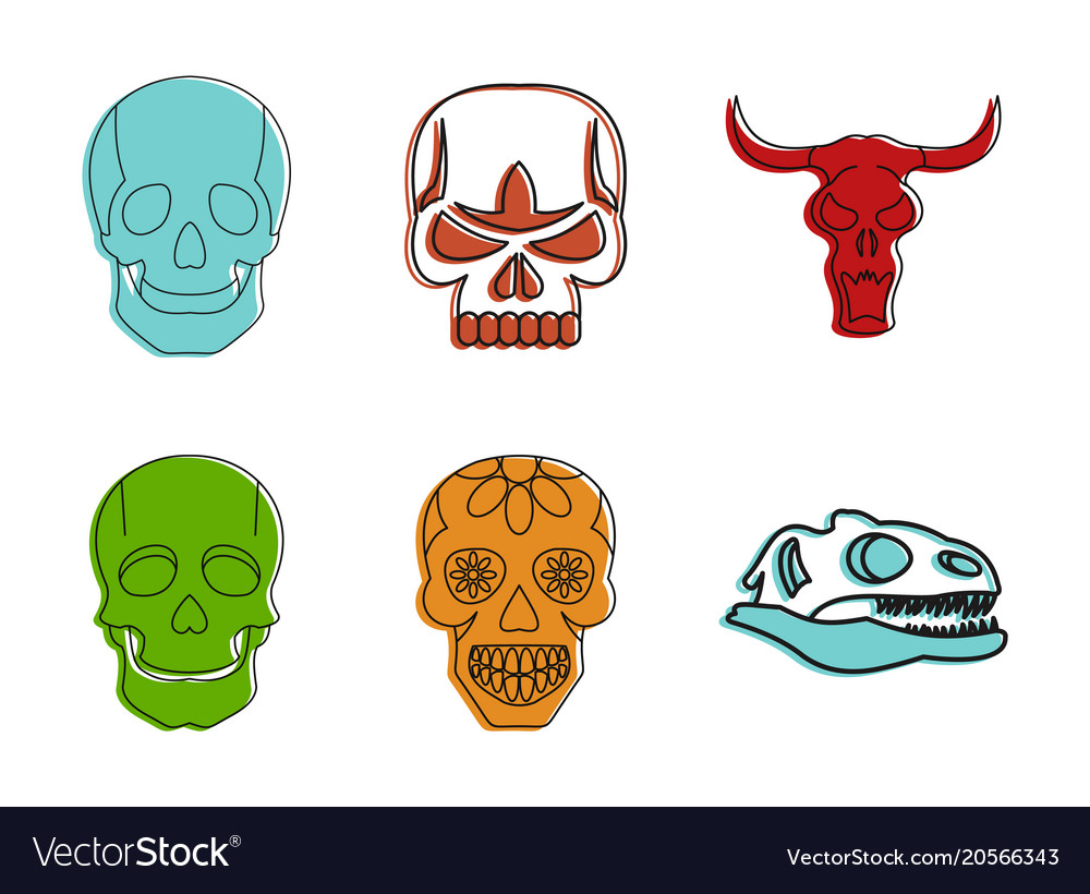 Skull icon set color outline style