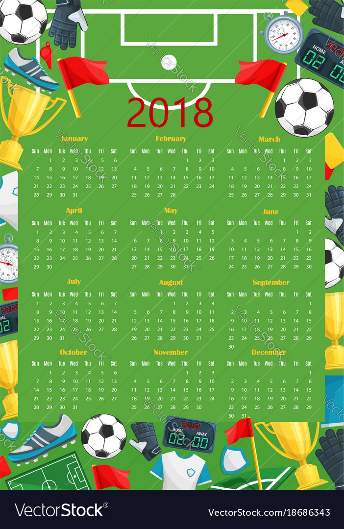 Soccer Calendar Template Of Football Sport Game Vector Image