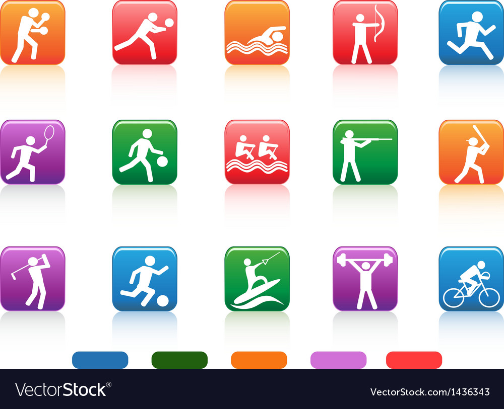 Sports people buttons vector image
