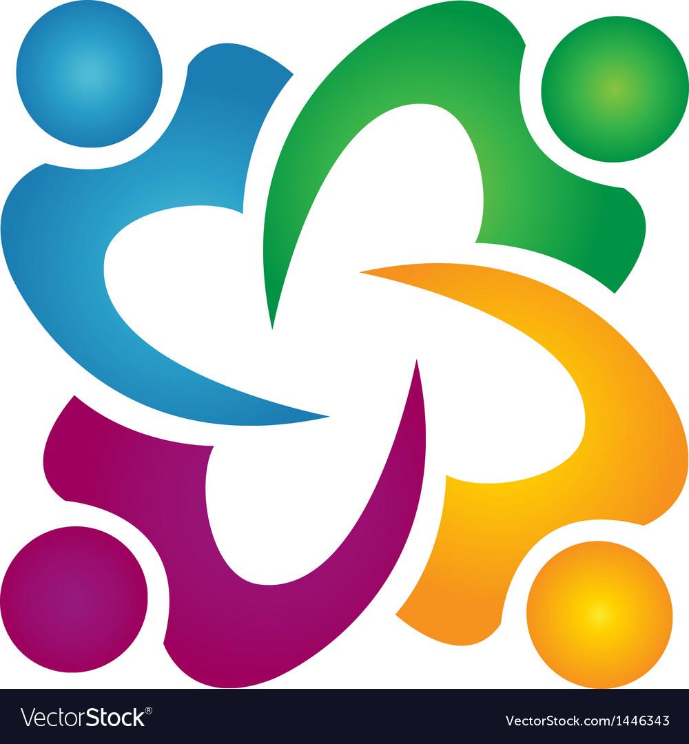 Teamwork people business group logo vector image
