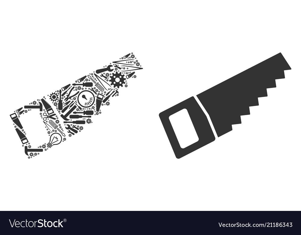 Wood Saw Mosaic Of Repair Tools Royalty Free Vector Image