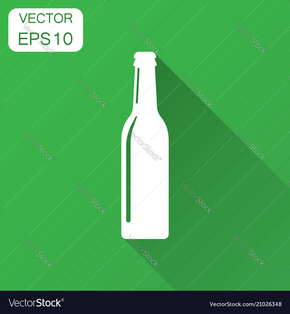 Beer bottle icon in flat style alcohol bottle