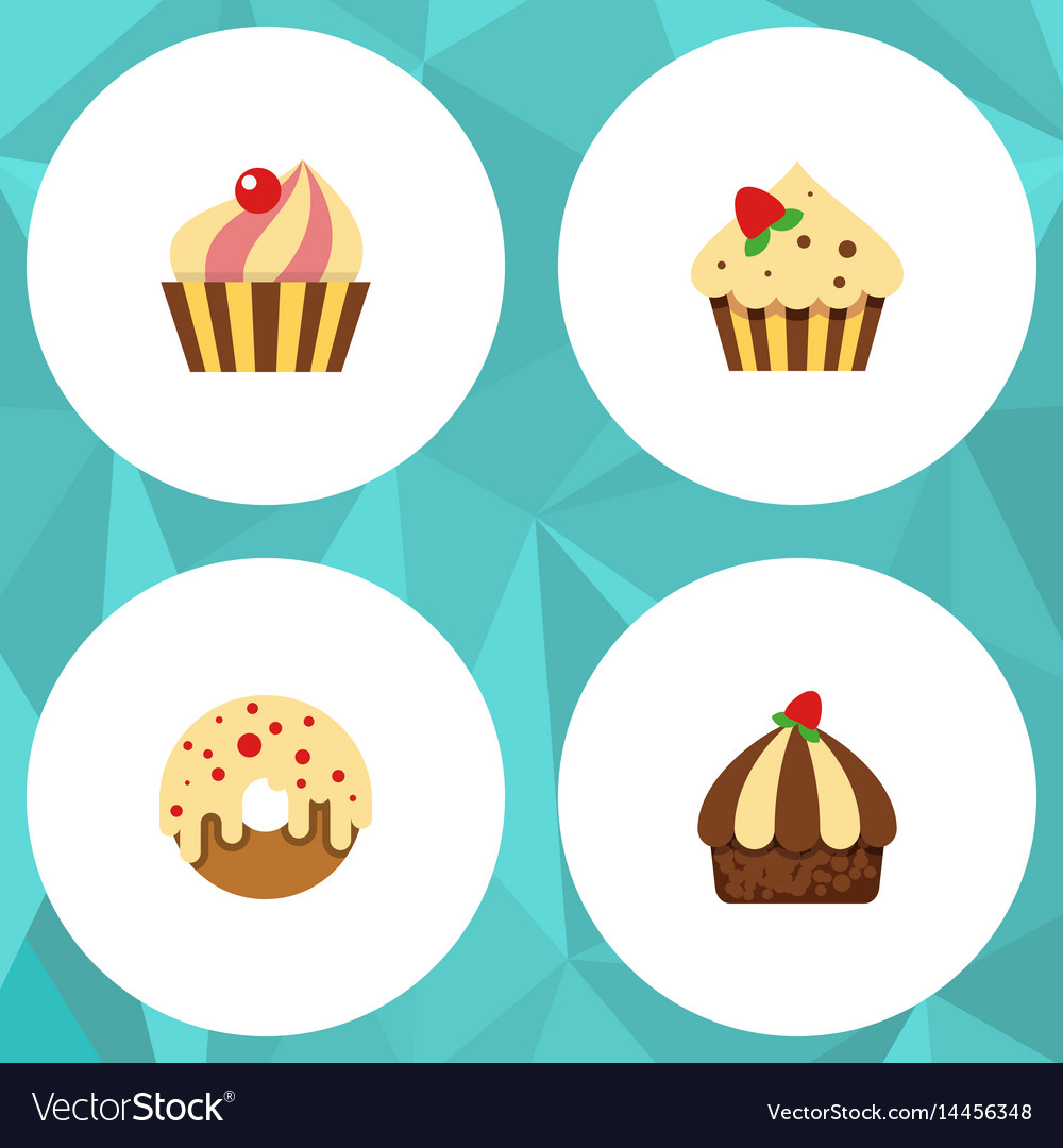 Flat cake set of sweetmeat confectionery vector image
