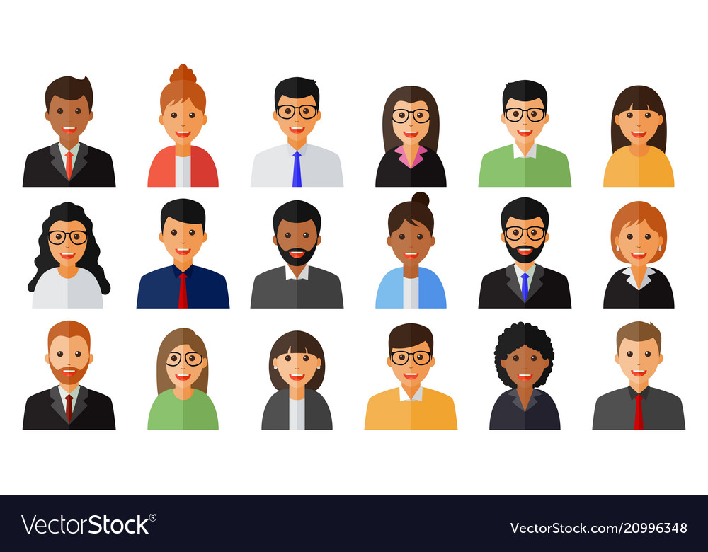 Group of working people men and women icons