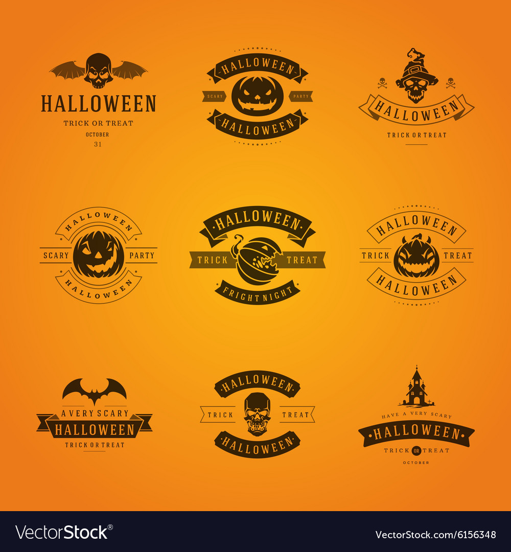 Halloween Badges and Labels Greetings Cards