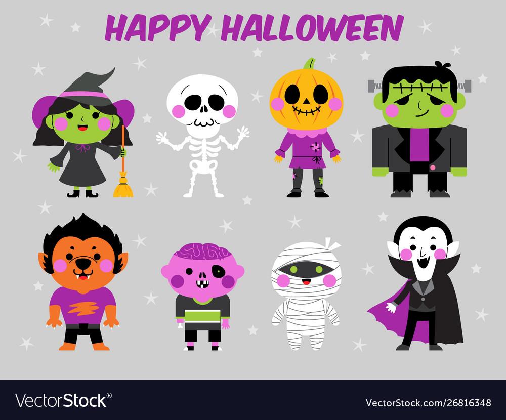 Happy halloween character set