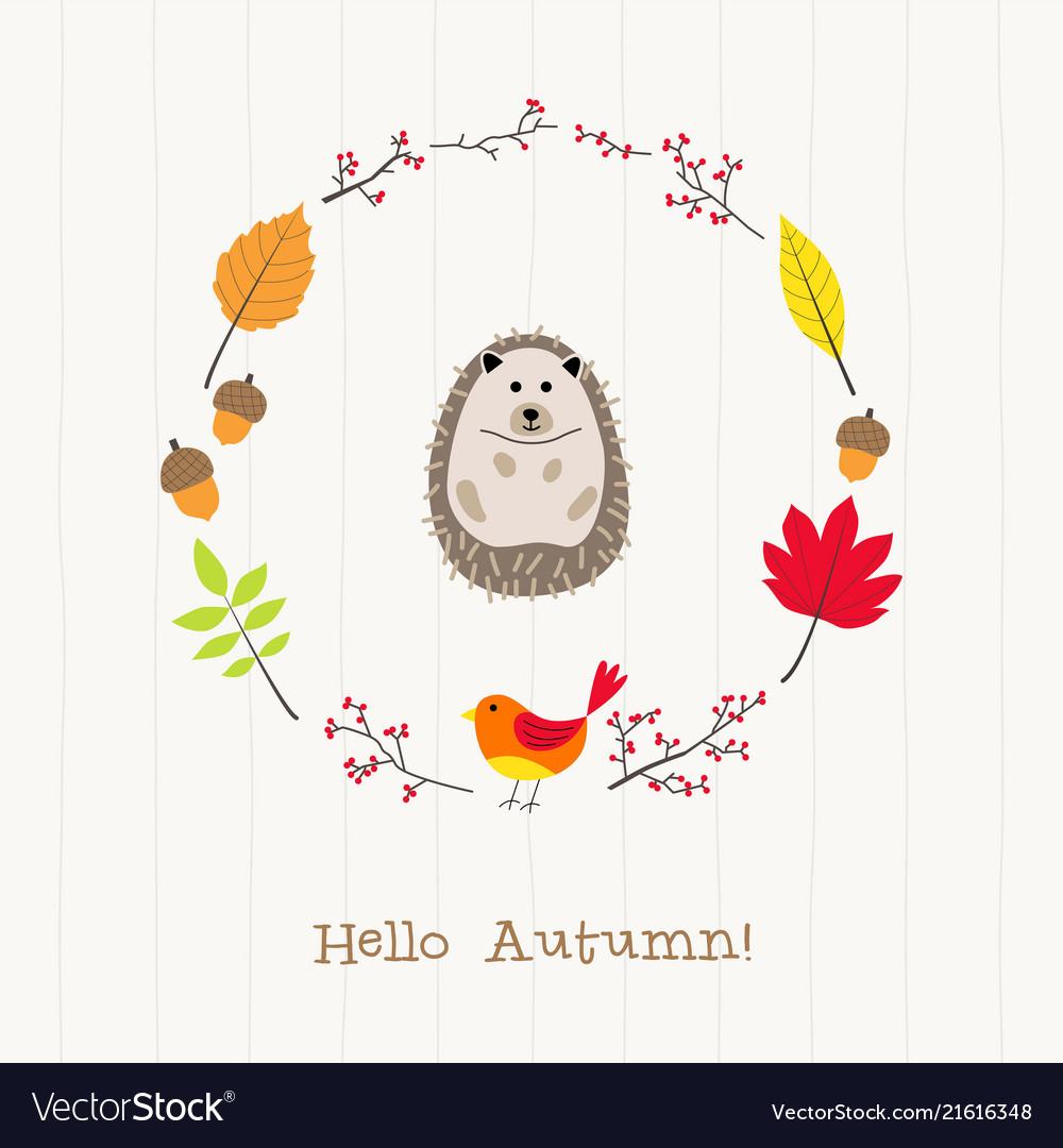 Hedgehog with autumn frame card