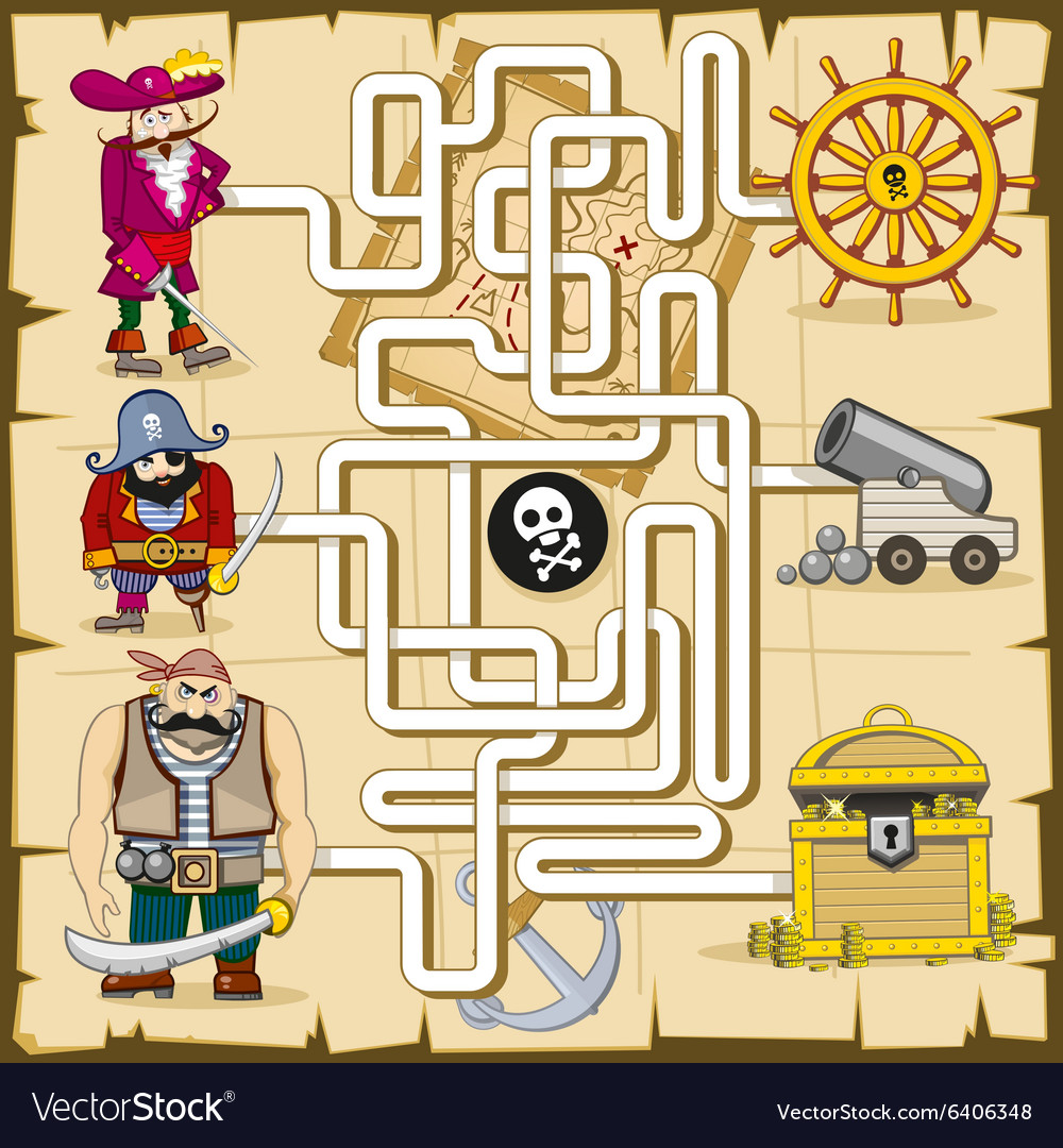 Maze with pirates game for kids