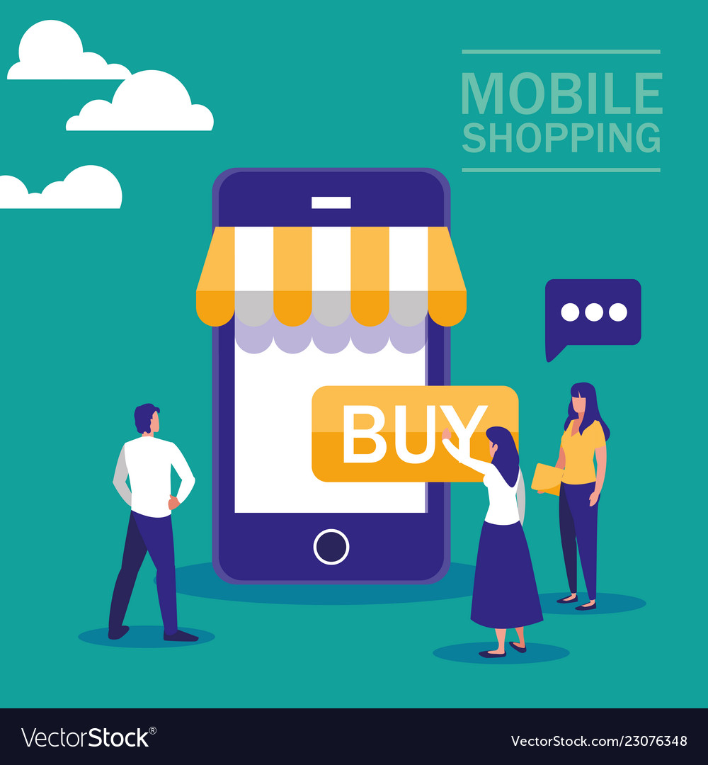 Mini people with smartphone and shopping online