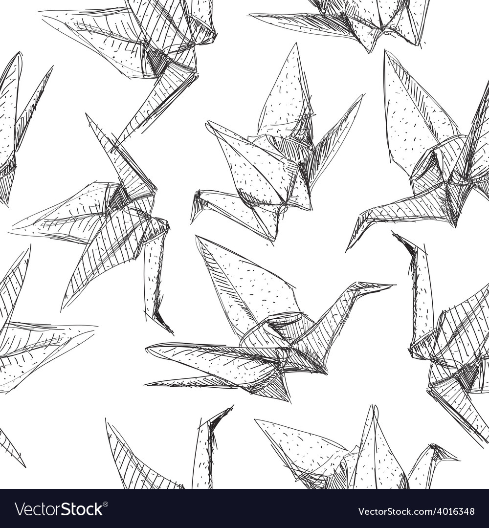 Origami paper cranes set sketch seamless pattern