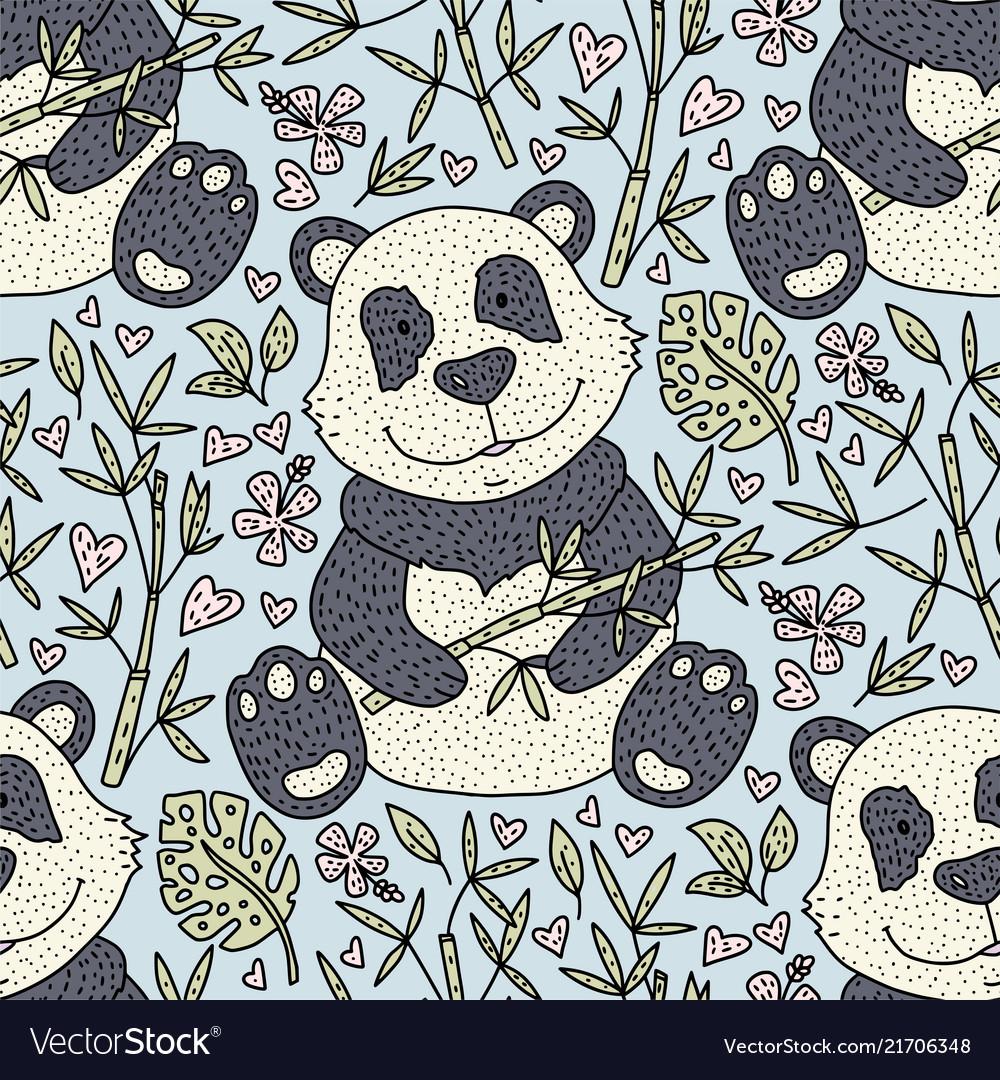 Panda bear with bamboo hand