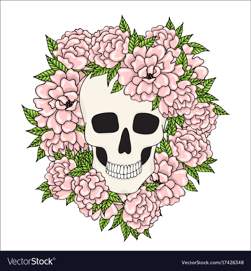 Skull with pink flowers on a white background vector image mightylinksfo