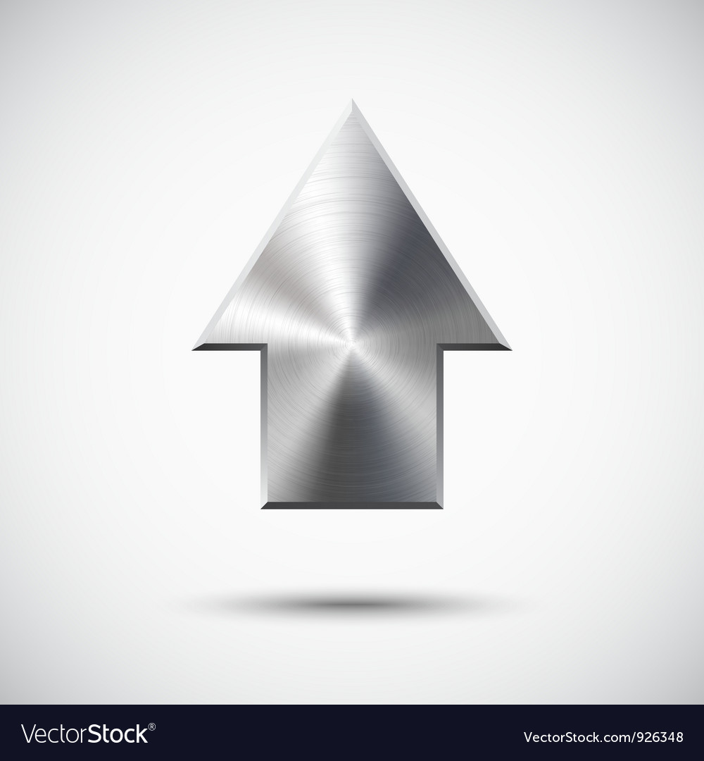 Up arrow sign with metal texture light background vector image