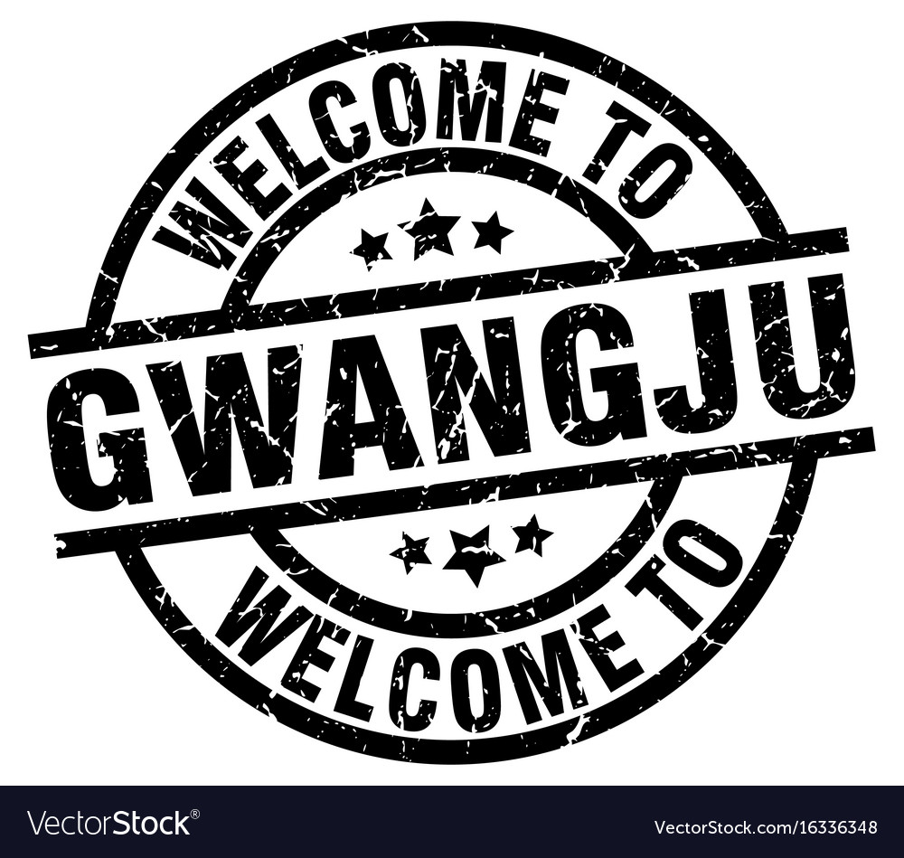 Welcome to gwangju black stamp vector image