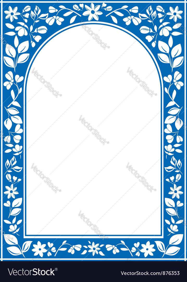 Blue floral arch frame vector image