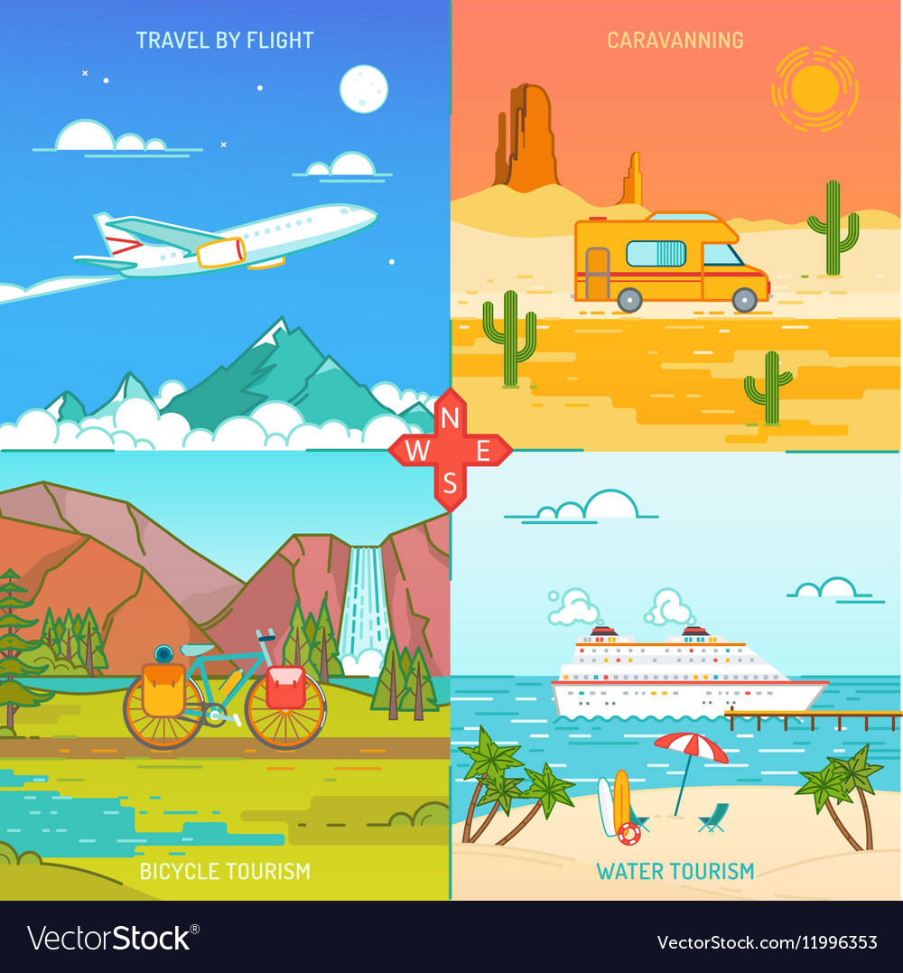 Caravaning bicycle and water tourism Icons of