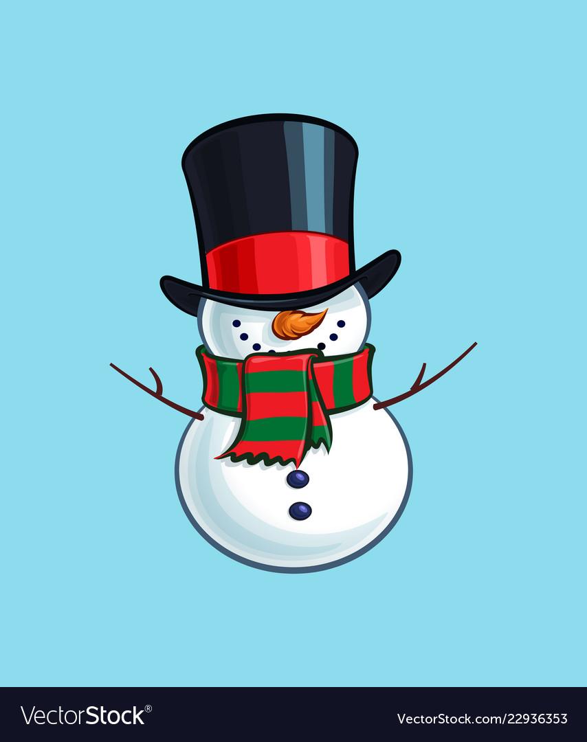 Christmas cartoon icon - smiling snowman