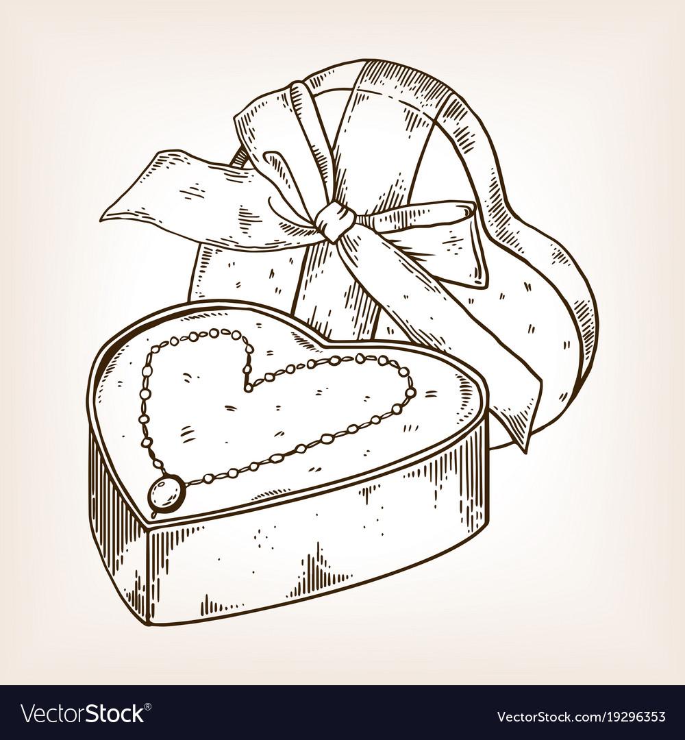 Diamond necklace heart engraving vector image