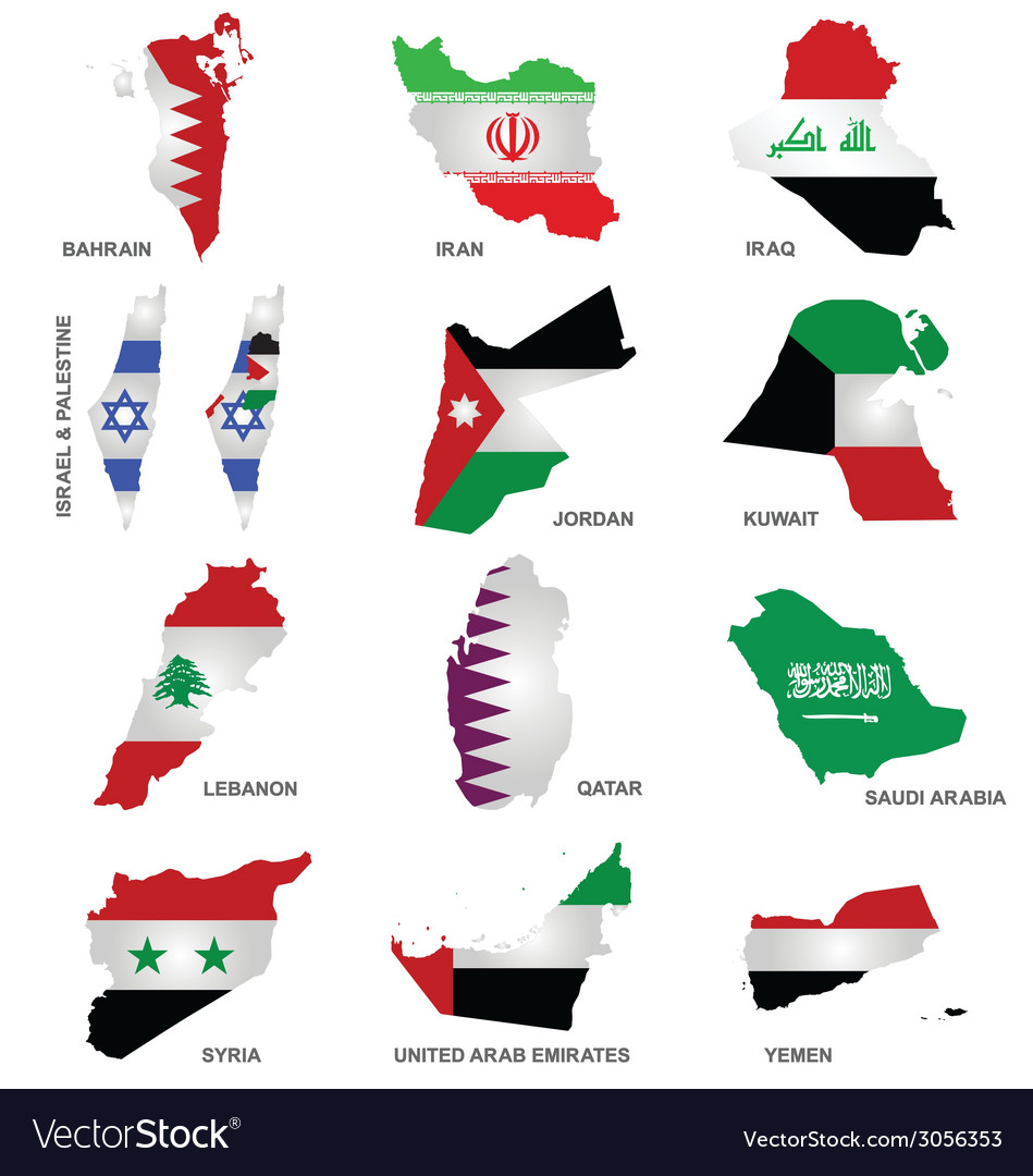 gulf state flags royalty free vector image vectorstock