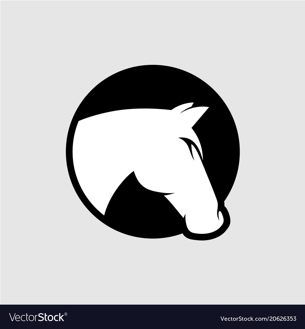 Horse head logo black and white color