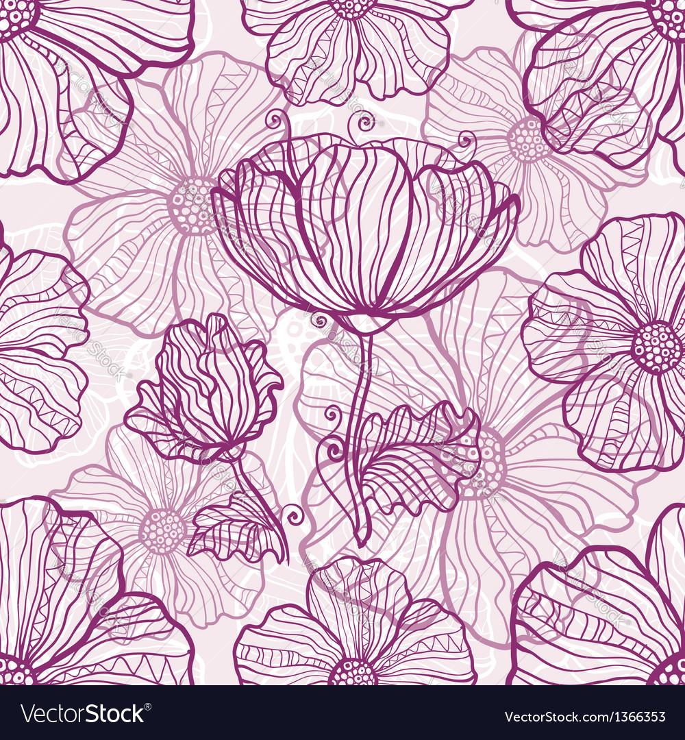 Ornate poppy flowers seamless pattern