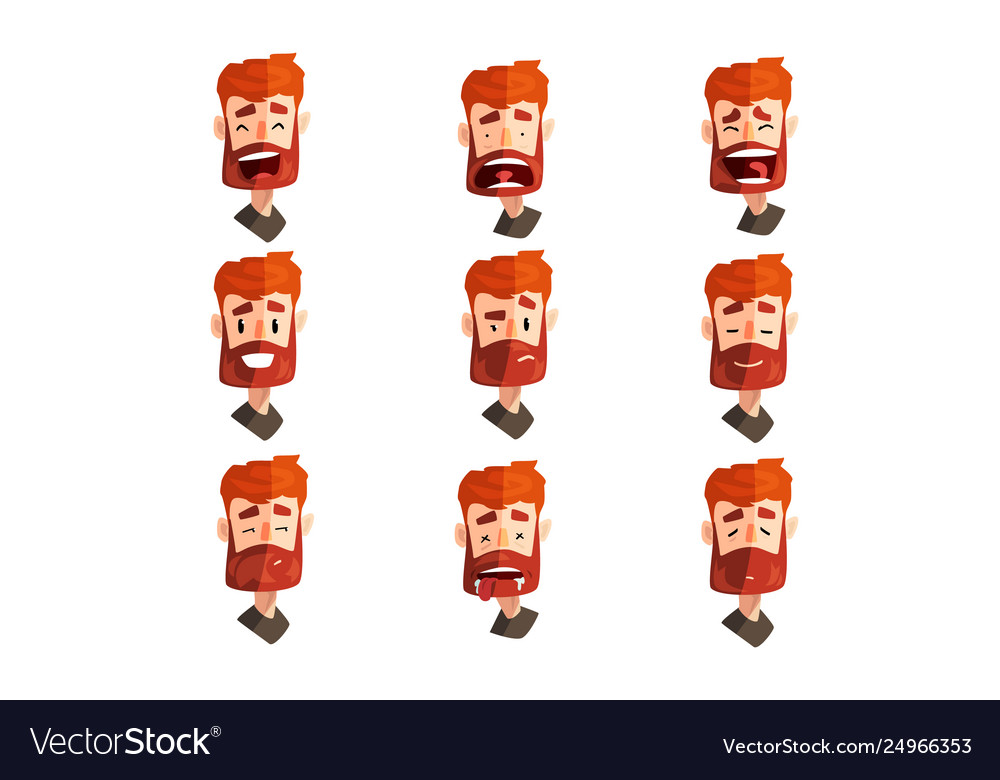 Redhead bearded man with emotional face set male