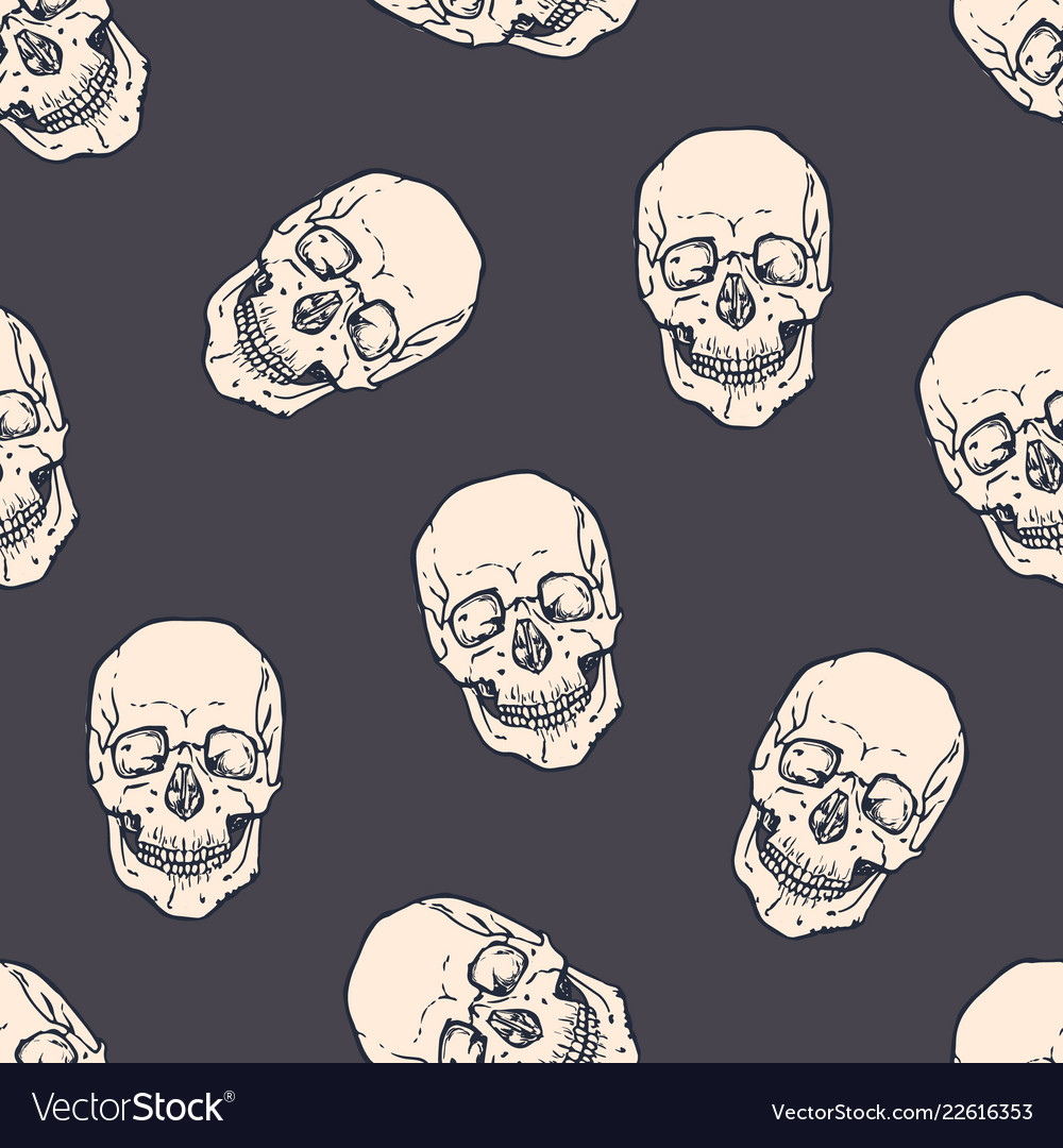 Seamless pattern with horrible realistic human