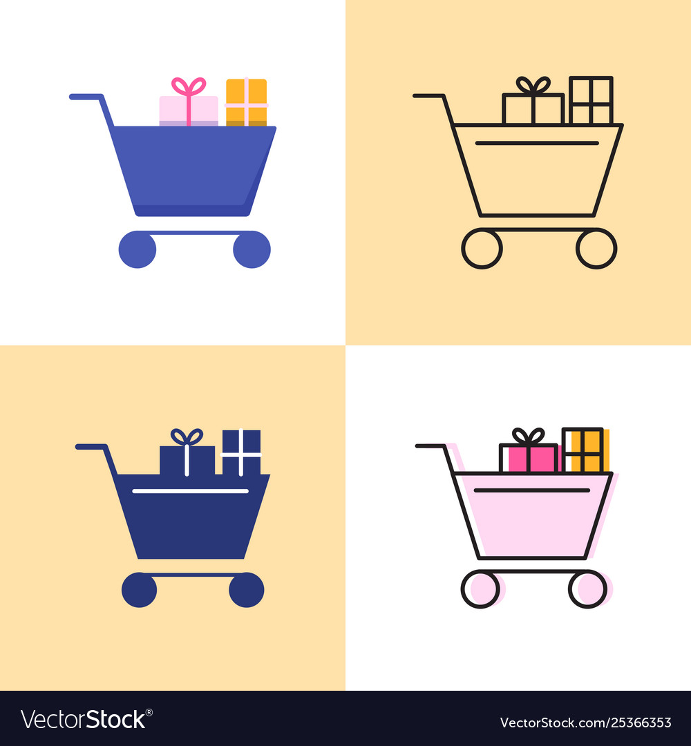 Shopping cart with presents icon set in flat and