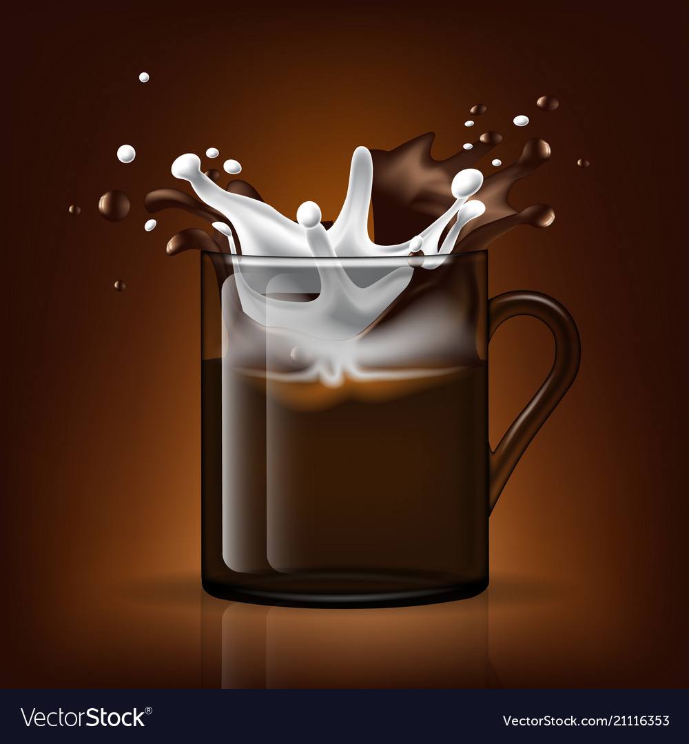 Splash in cup milk and coffee