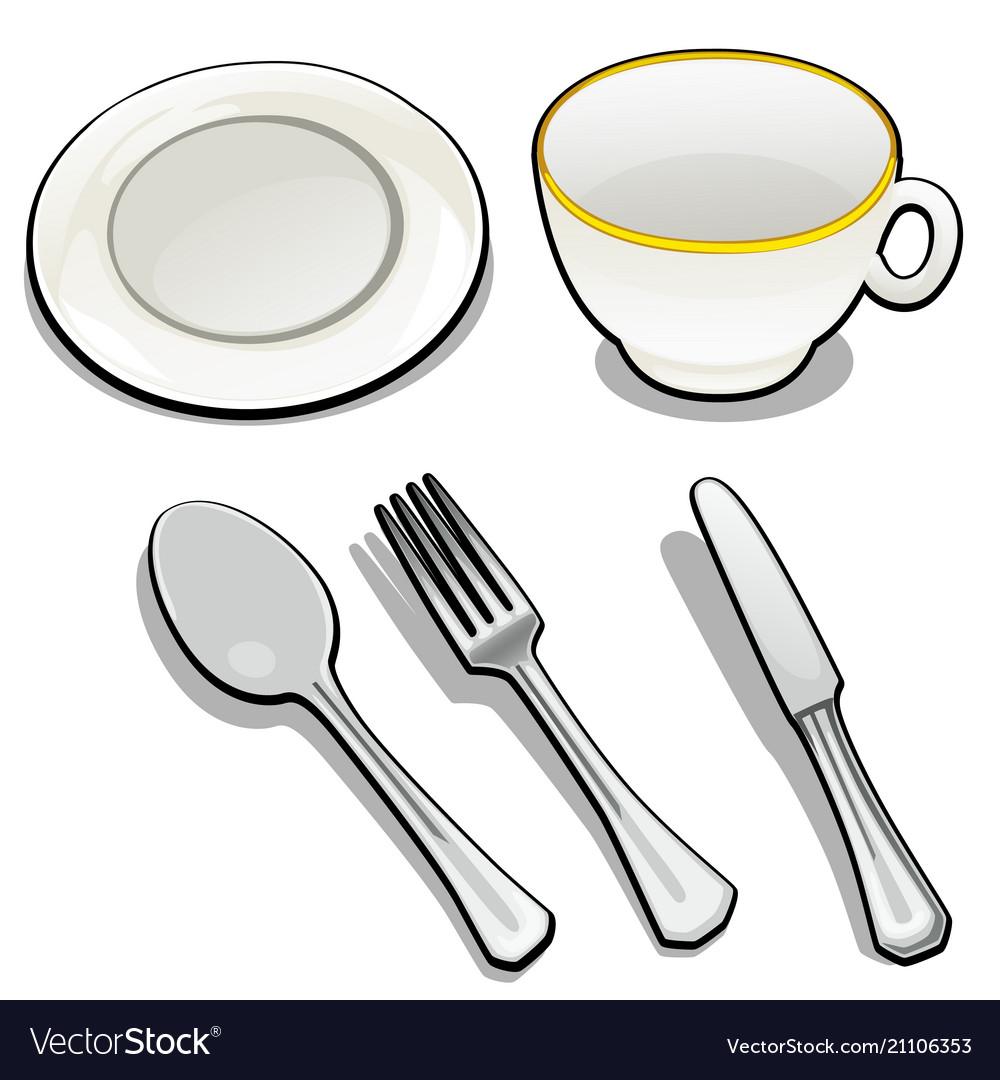 Tableware isolated on white background mug and