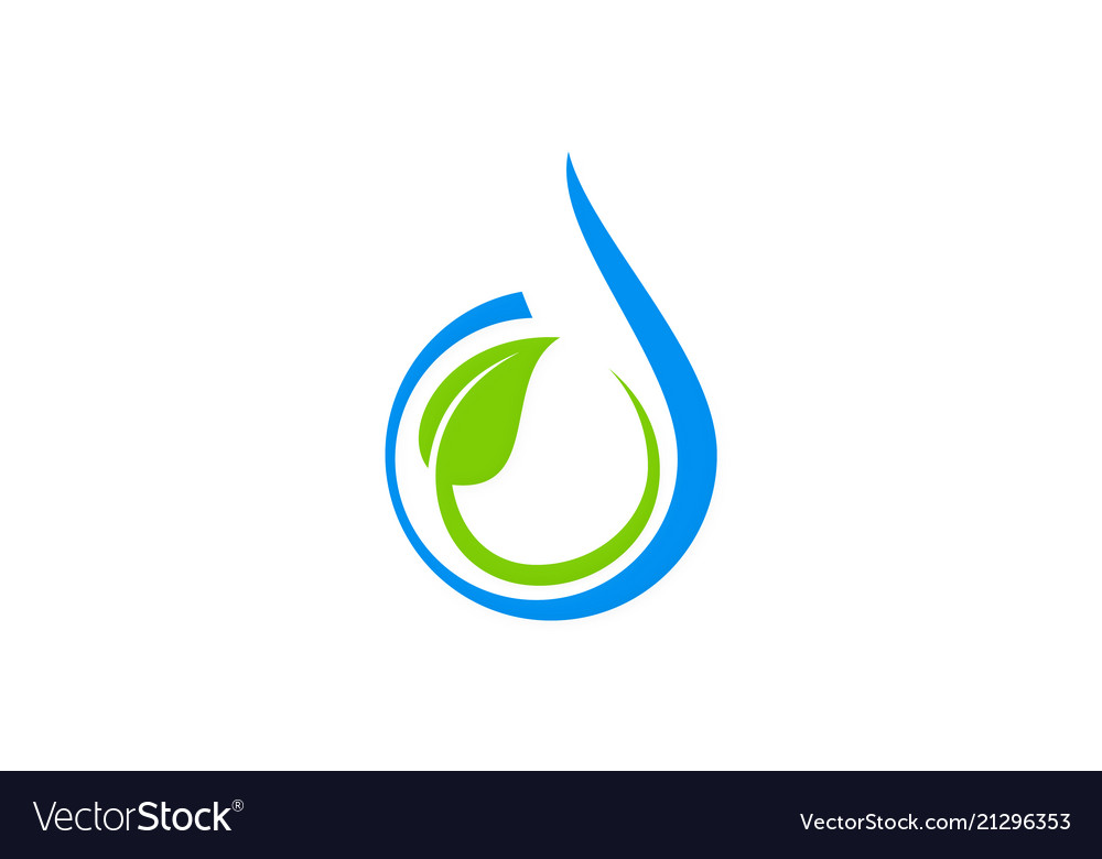 Water drop abstract green leaf logo