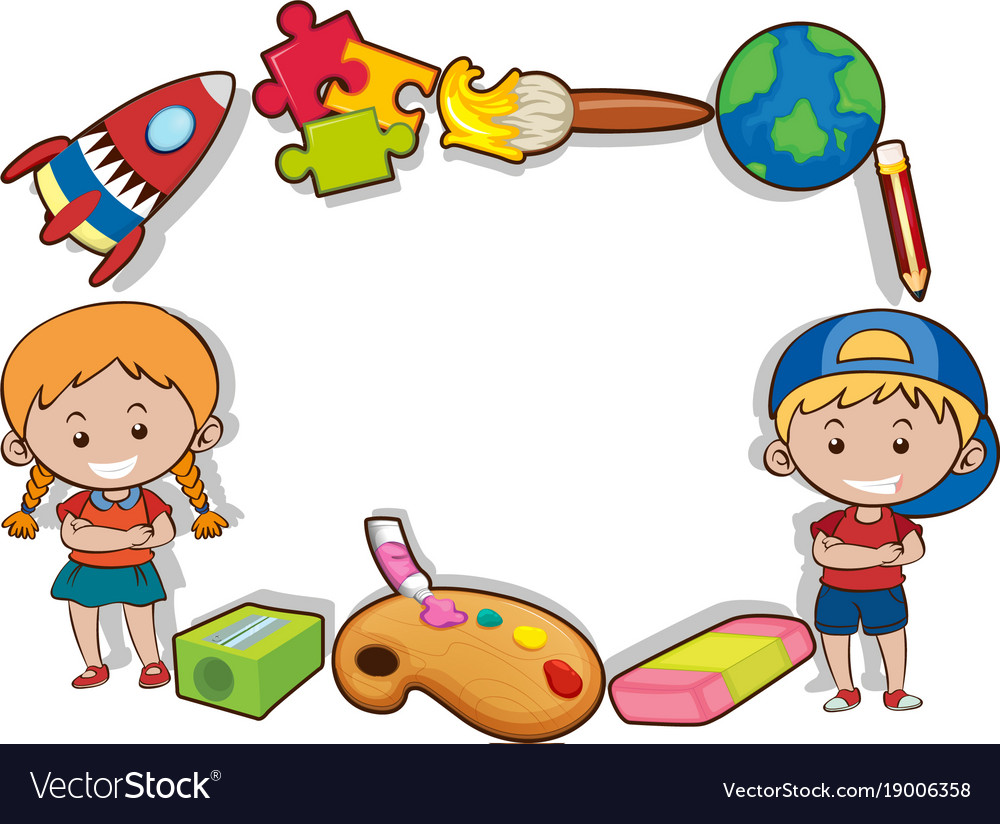 Boy Toys Border : Border design with happy kids and toys royalty free vector