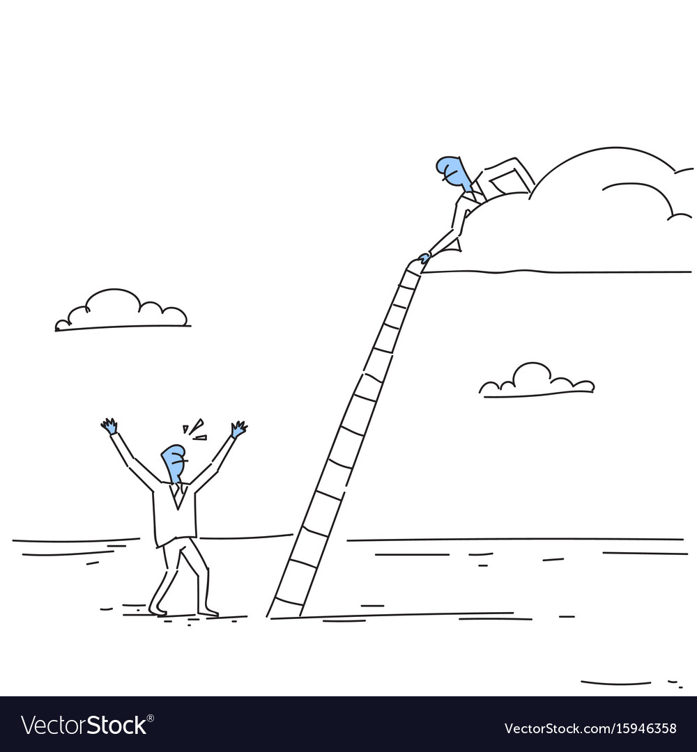 Businessman on cloud hold ladder stairs to climb