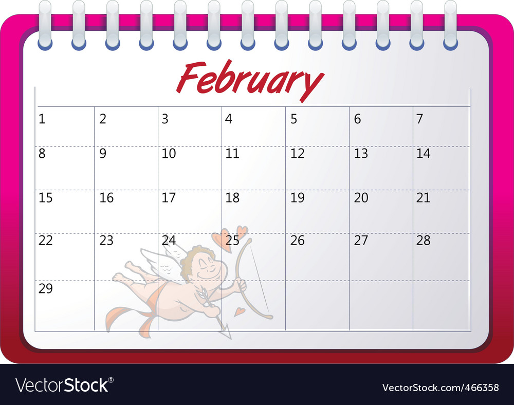Cartoon February calendar vector image