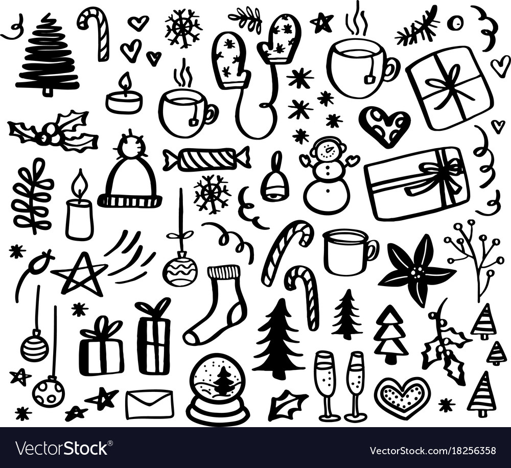 Christmas doodles hand drawn xmas