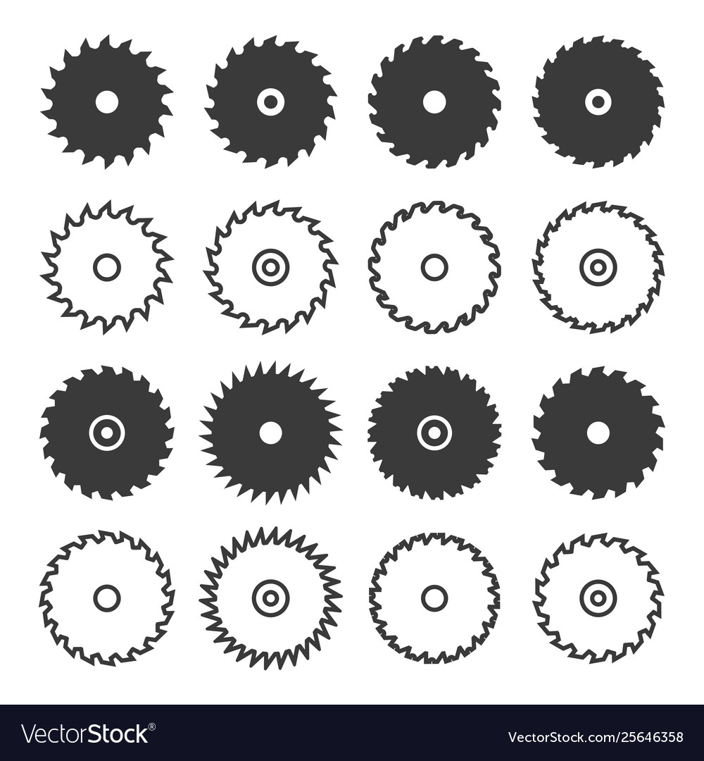 Circular saw blade icon set