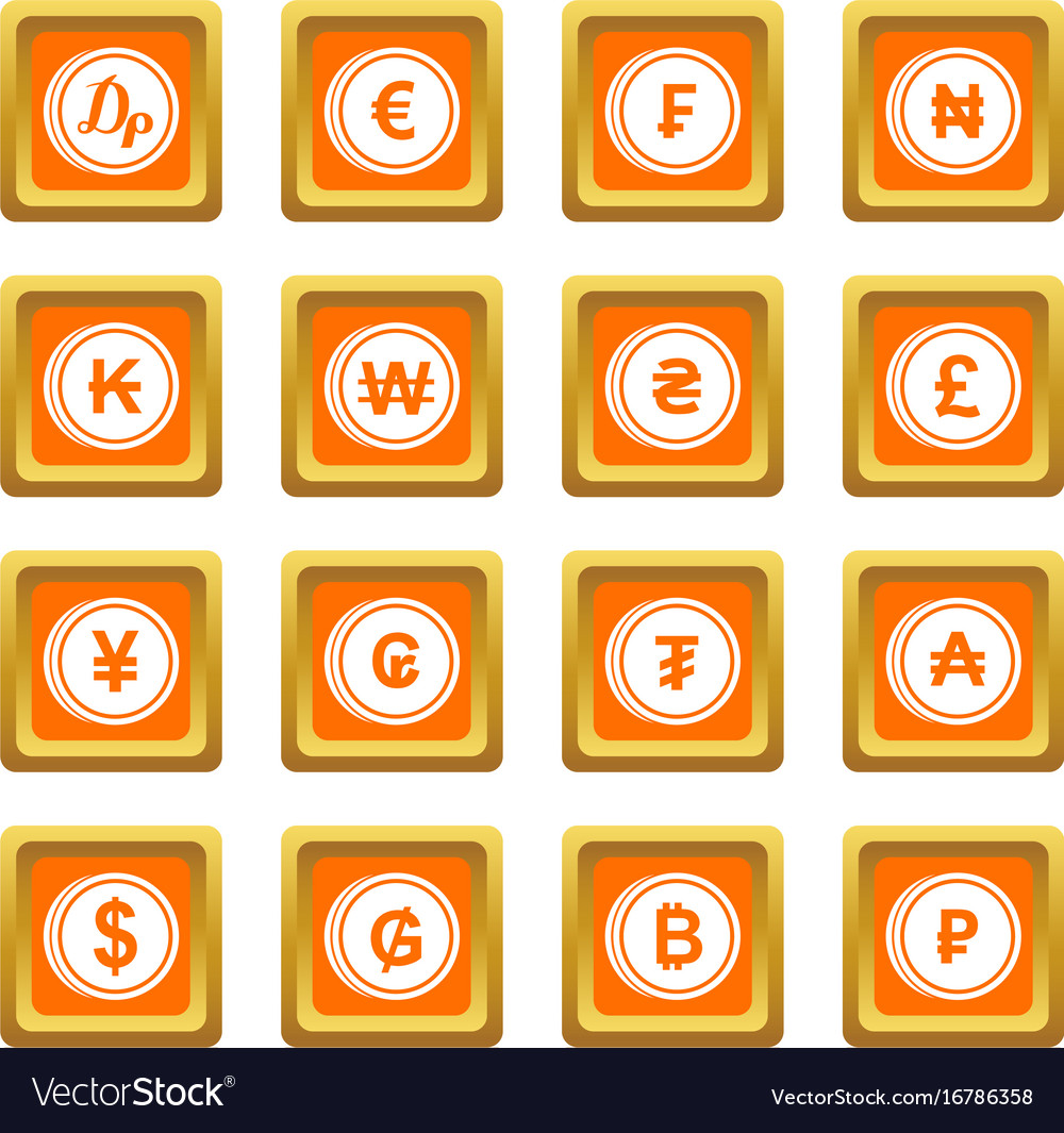 Currency From Different Countries Icons Set Orange
