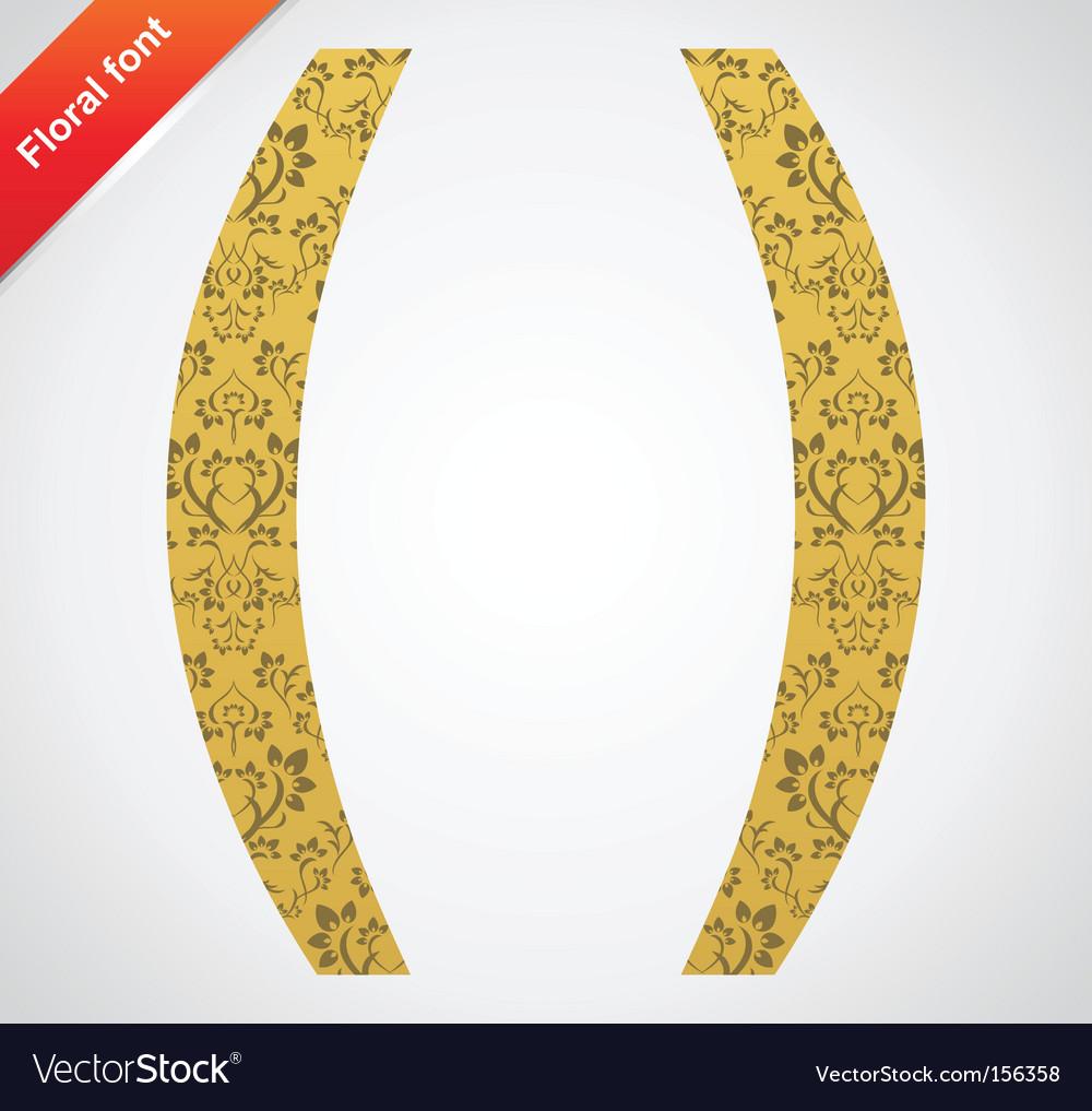 Floral symbol ornament font vector image