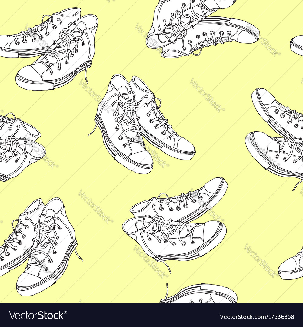 Hand drawn sneakers seamless pattern