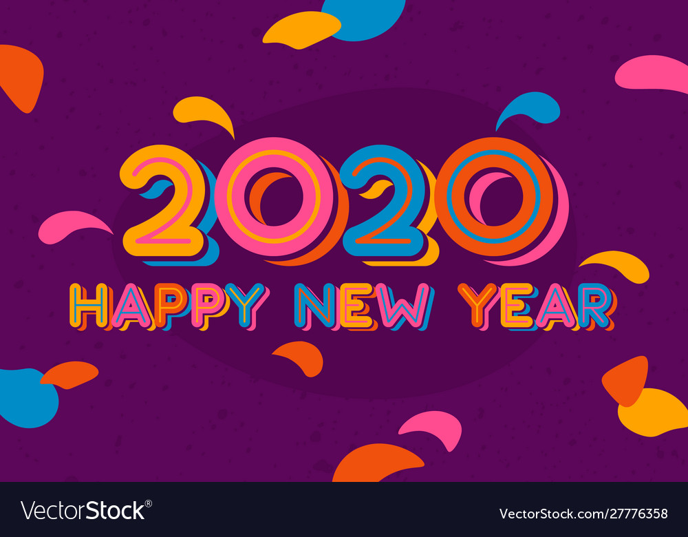 Happy new year 2020 typography design with