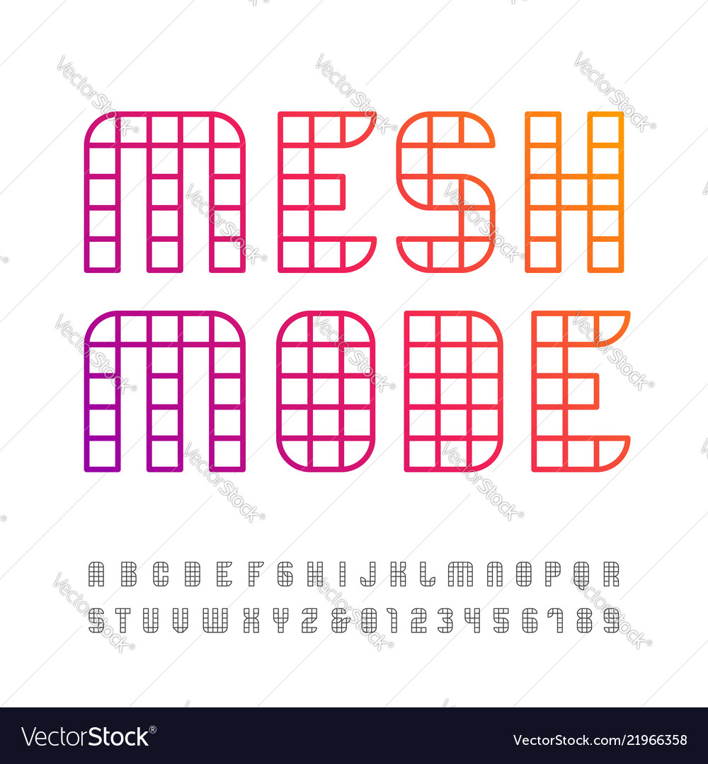 Linear font alphabet with mesh effect letters and