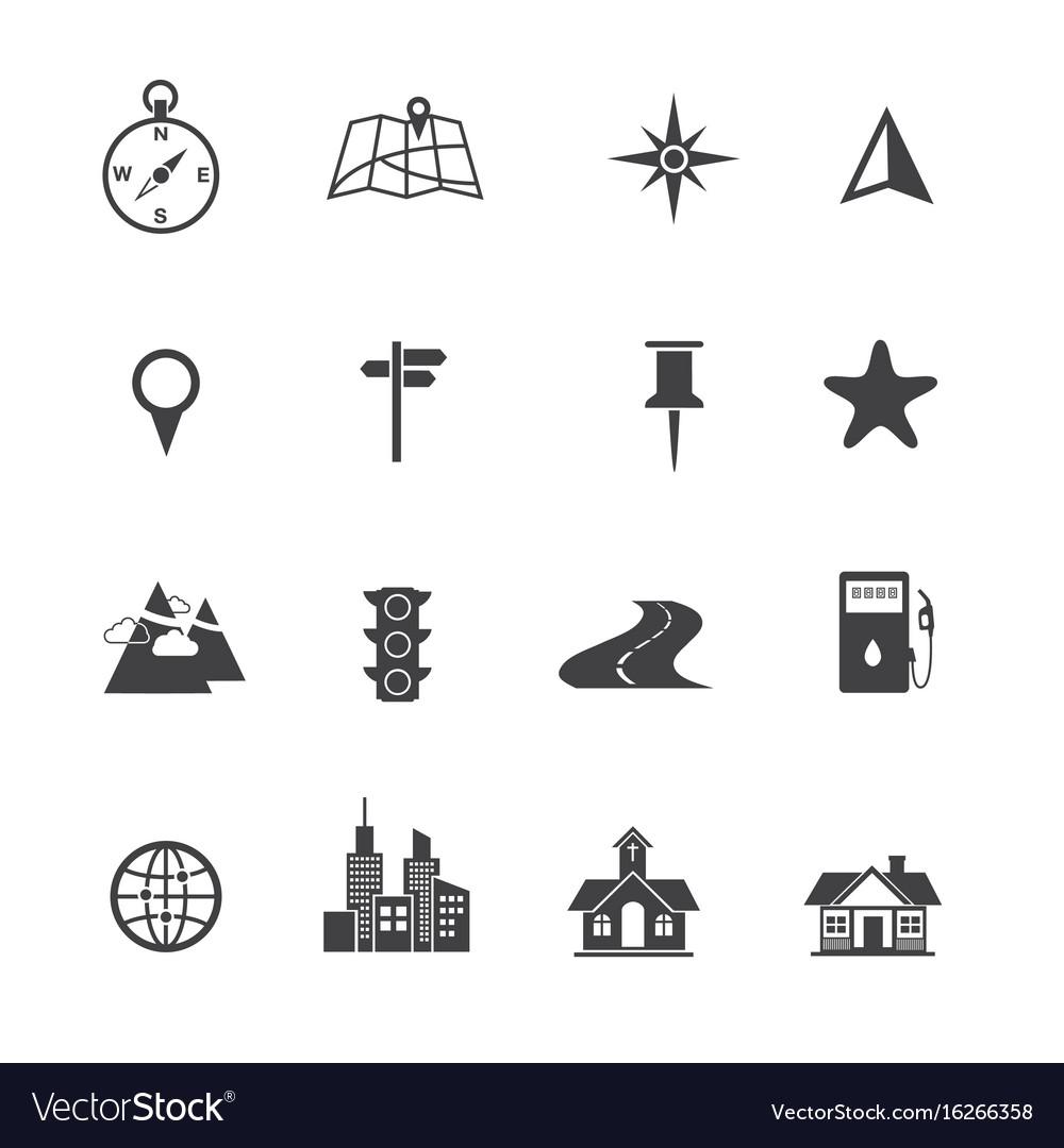 Map icons set navigation