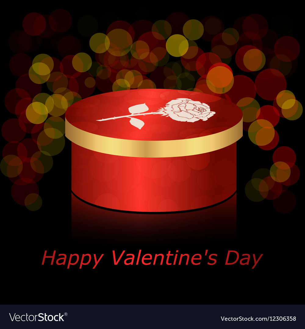 Round box with red and gold rose on a dark vector image