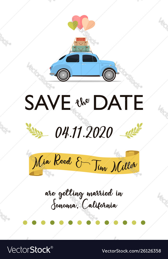 Save date lettering card with retro car and
