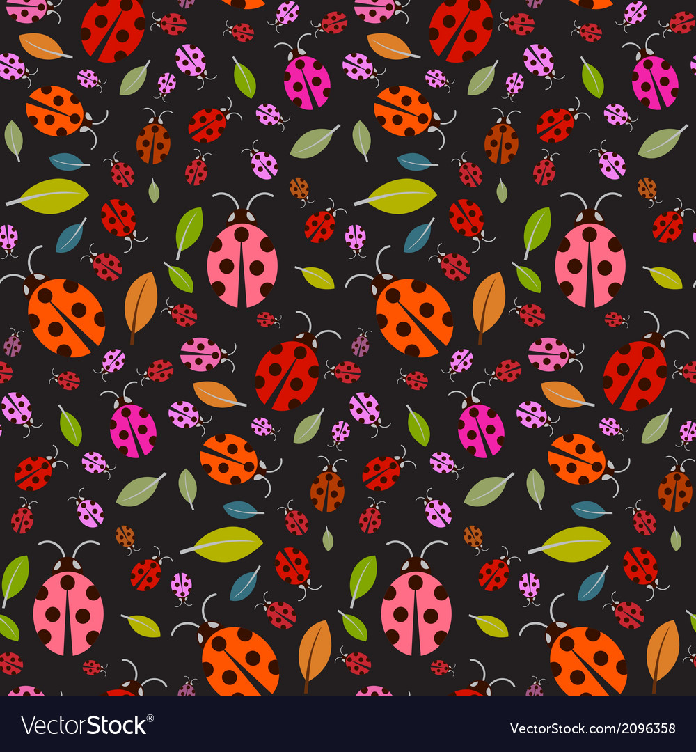 Seamless Pattern with Ladybirds and Leaves on
