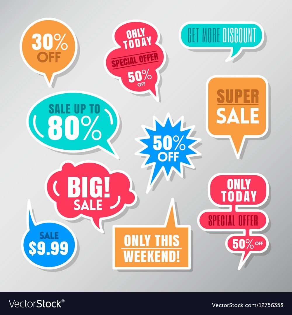 Set of colorful sale labels balloon speech bubbles vector image