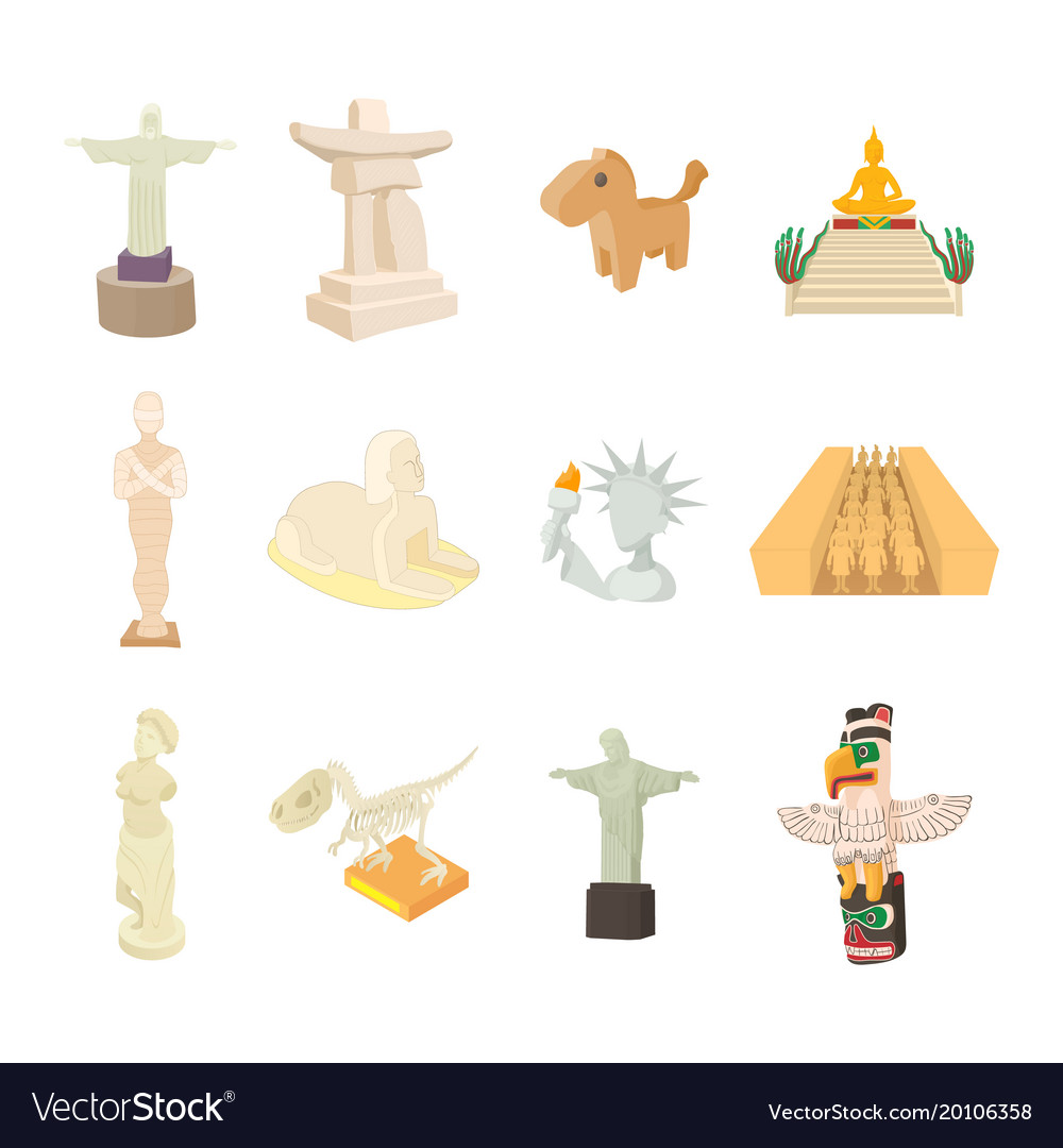 Statue icon set cartoon style vector image