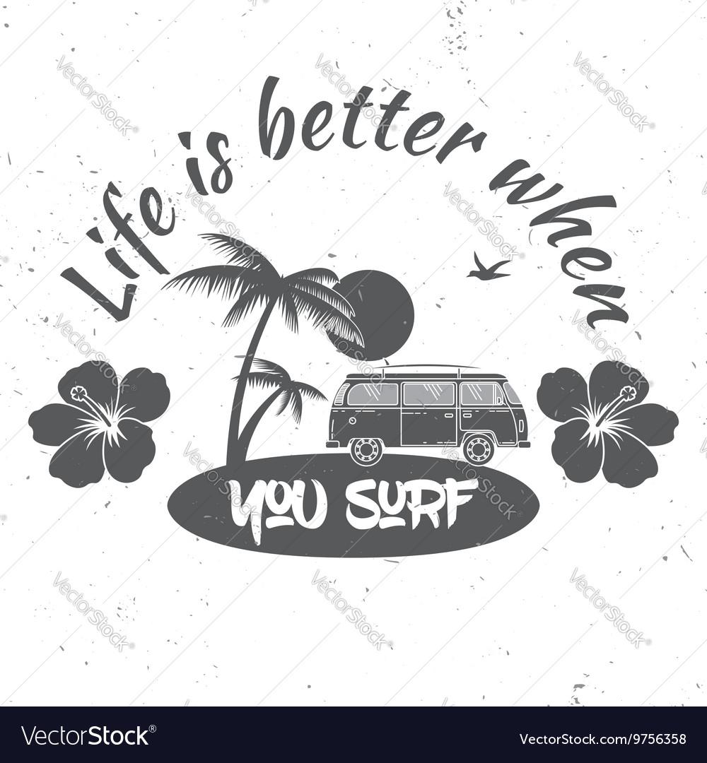 Surf club concept summer surfing retro badge