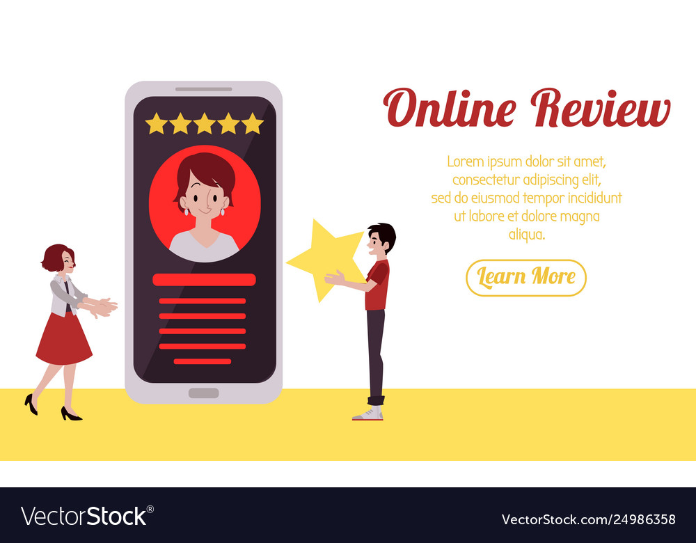 Web banner man holds star and gives five-star